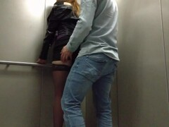 Sister did not refuse a member in the elevator, sex in a public place! Thumb